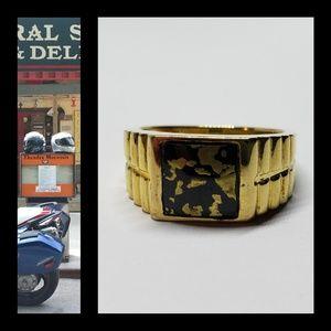 Vintage Black Goldenite in Men's Ring